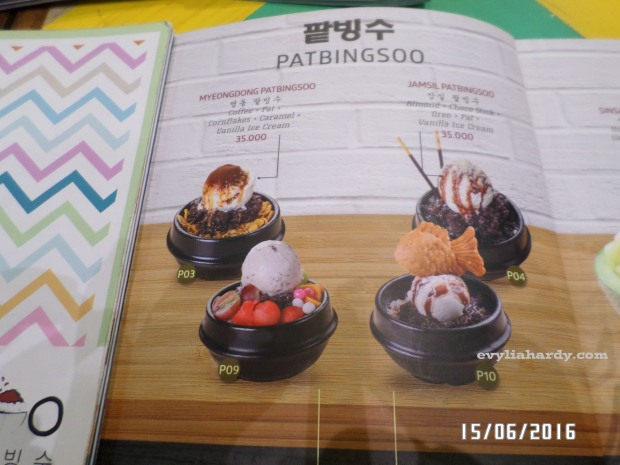 Patbingsoo, Korean Dessert House menu