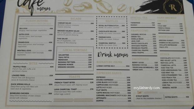 Daftar harga Rosti resto cafe jalan Pandanaran Semarang